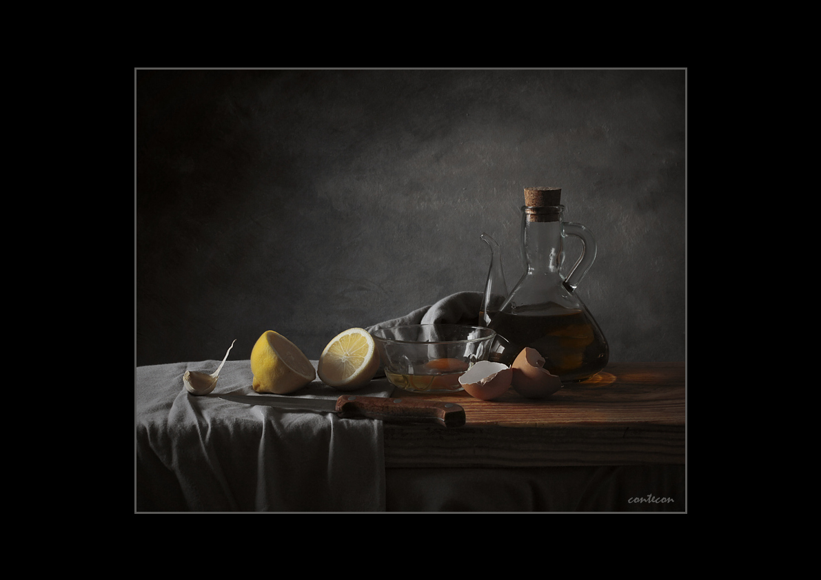 bodegon gris con limon