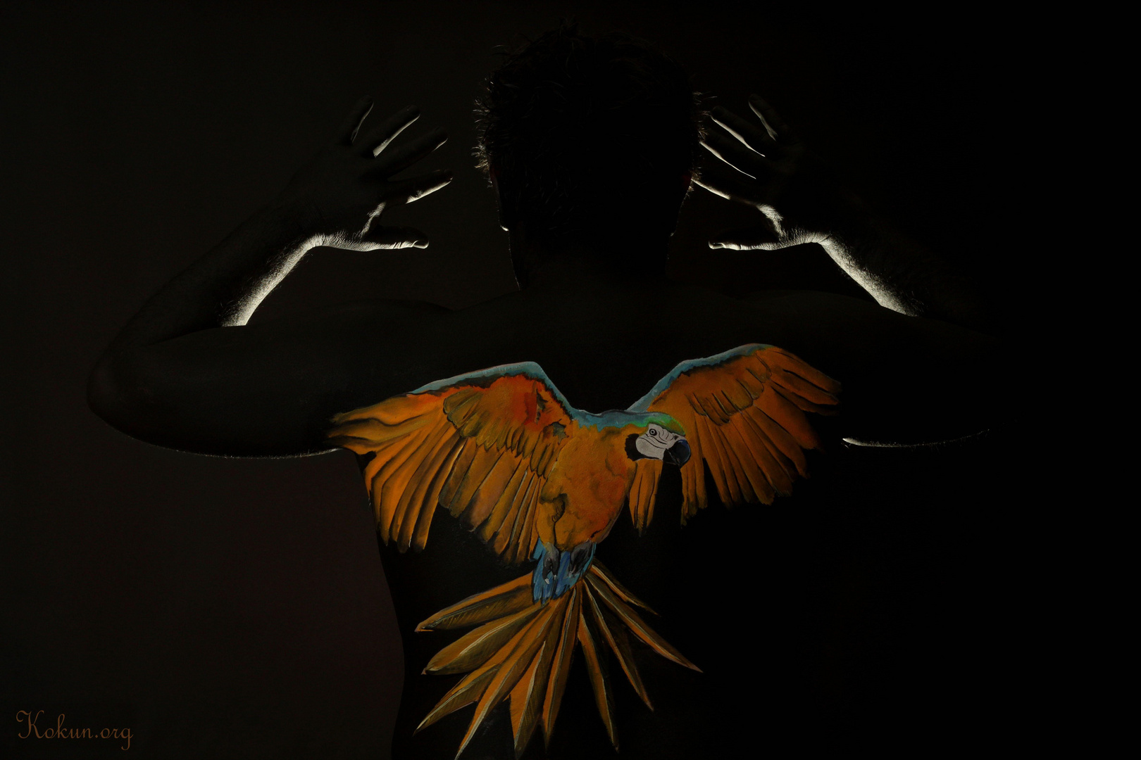 Bodypainting Papagei