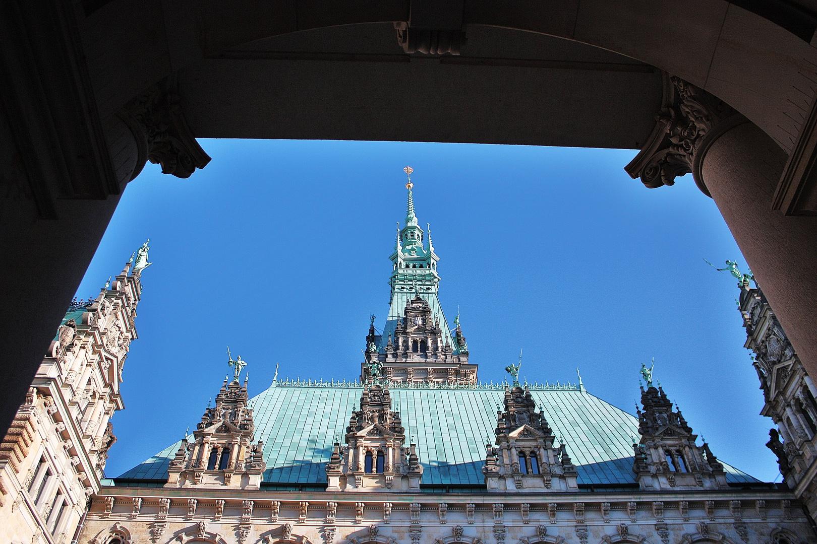 Börsenblick auf`s Hamburger Rathaus