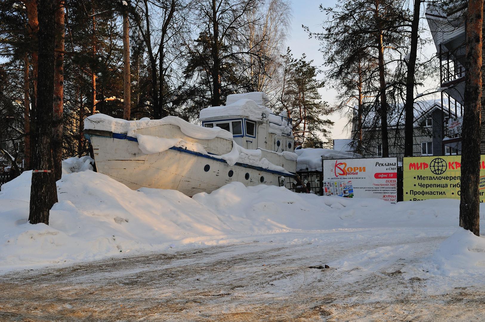 Boot im Schnee