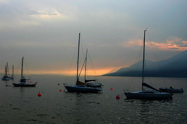Boote am Abend (Gardasee)