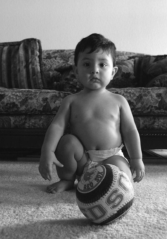Boy and ball,...