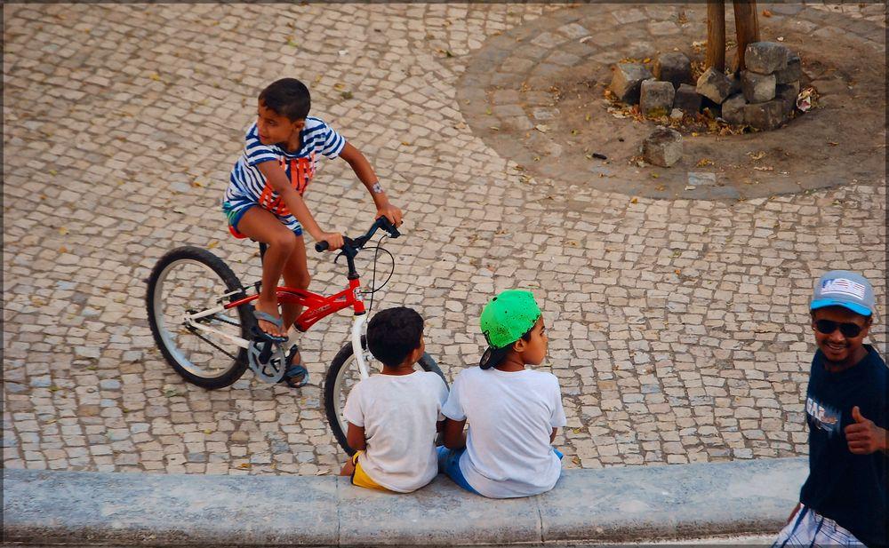 Boys on street, from my window.
