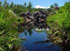 Brackwassersee und Granitfelsen - La Dique (Seychellen)