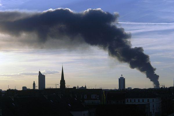 Brandsäule über Leipzig