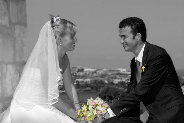 Brautpaar in SW mit Effekten