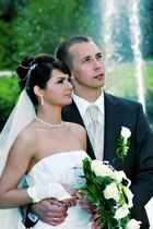 Brautpaar mit Sprungbrunnen