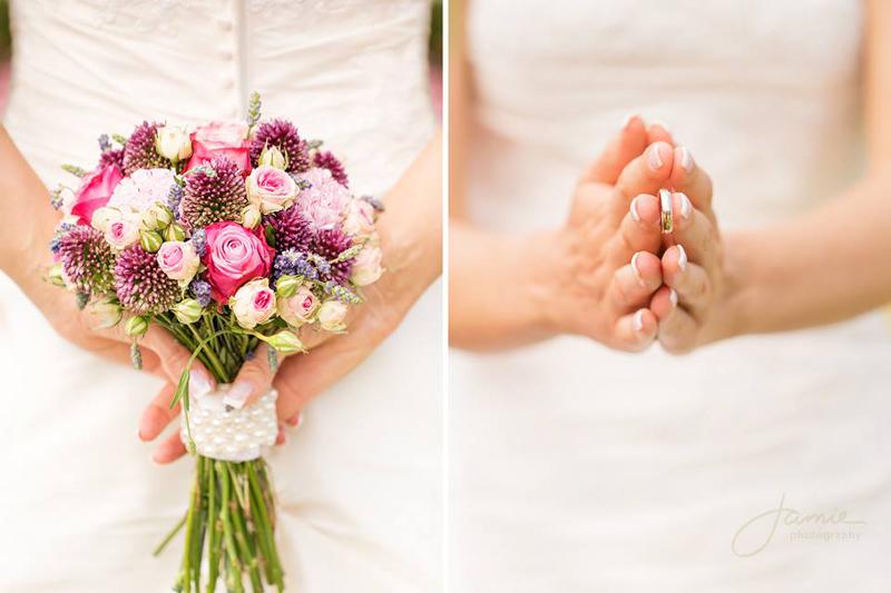 Brautstrauß und Brautring Details