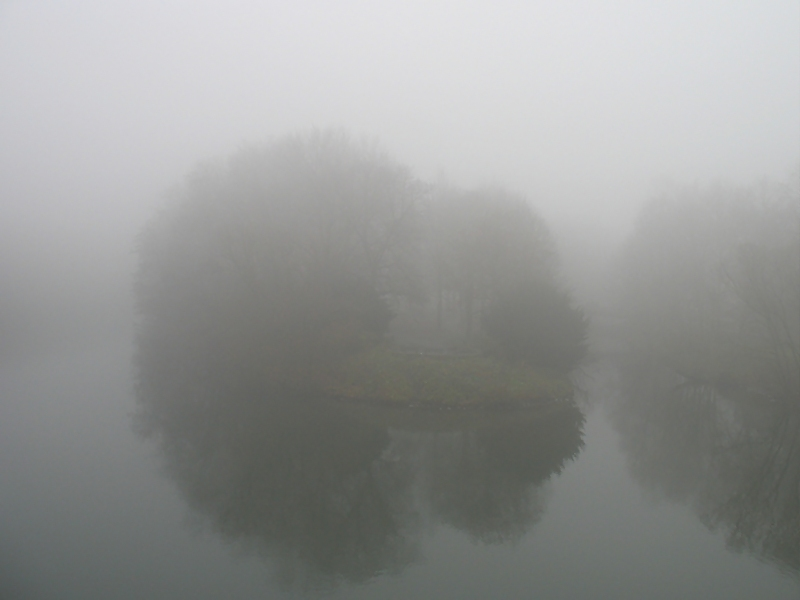 Brehm-Insel im Nebel (Essen-Werden)