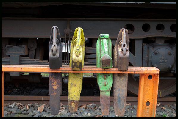 Bremsschuhe an der Museumsbahn in Kappeln