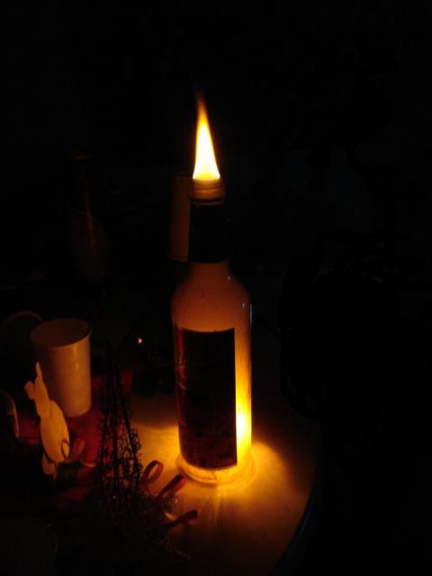Brennende Flasche