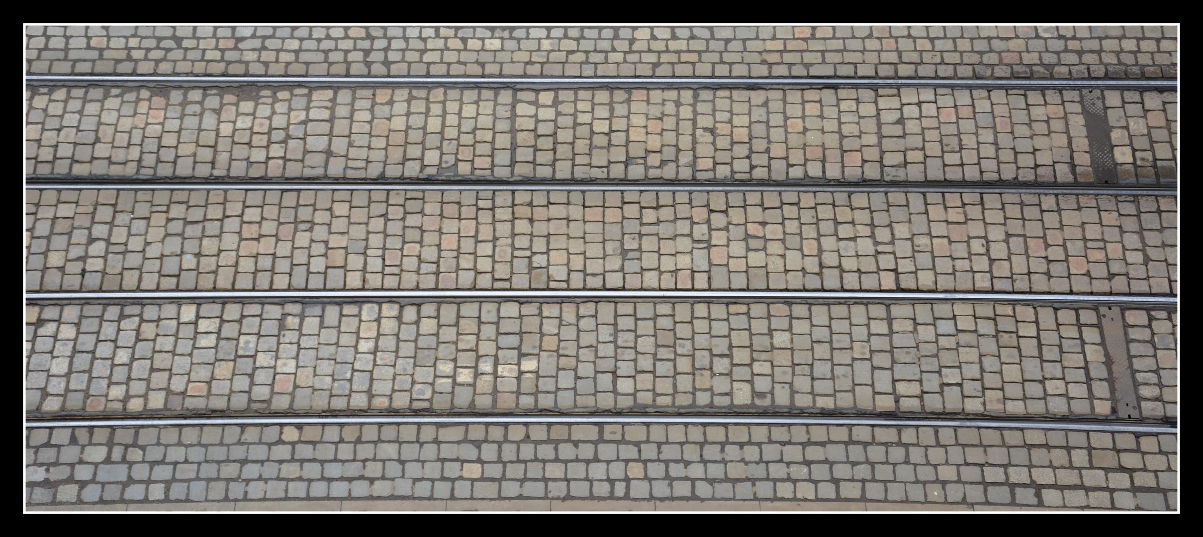 Breslau (Wroclaw) Historisches Straßenbahnpflaster