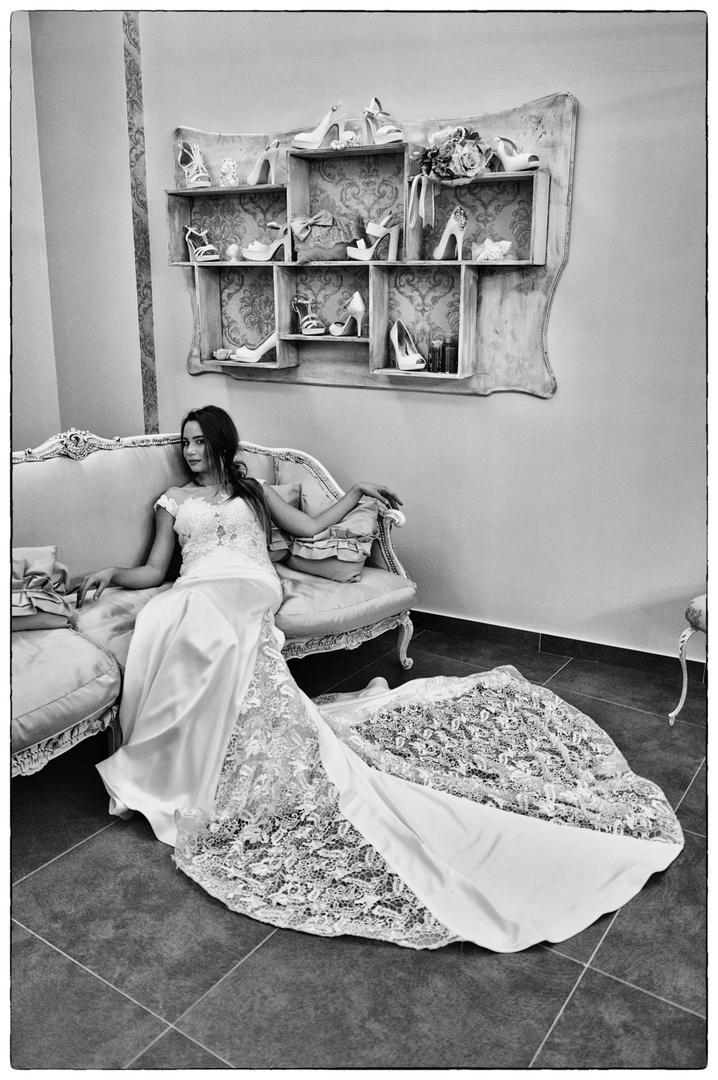 Bride on sofa