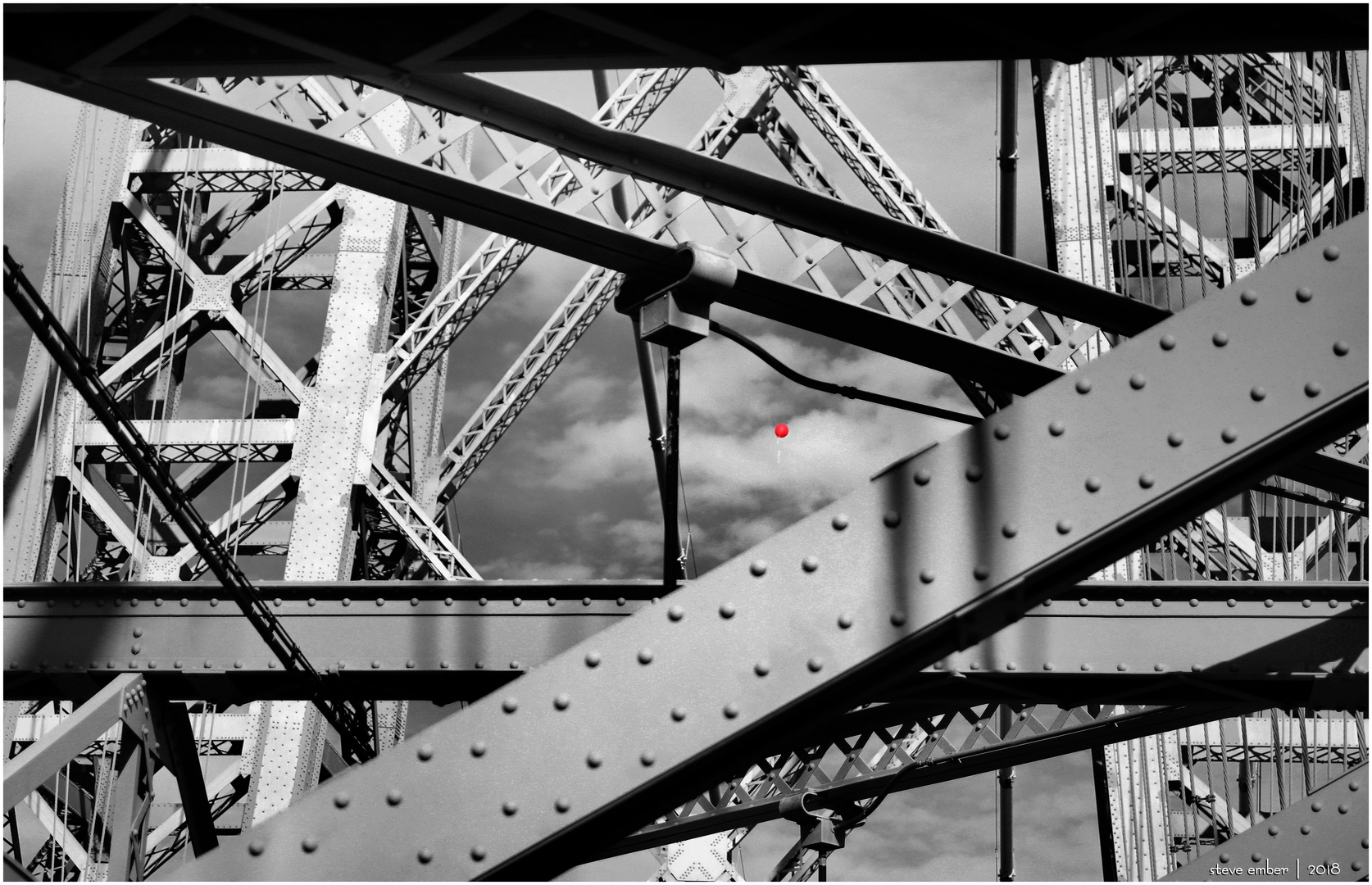 Bridge Girders and a Red Balloon - a New York Moment