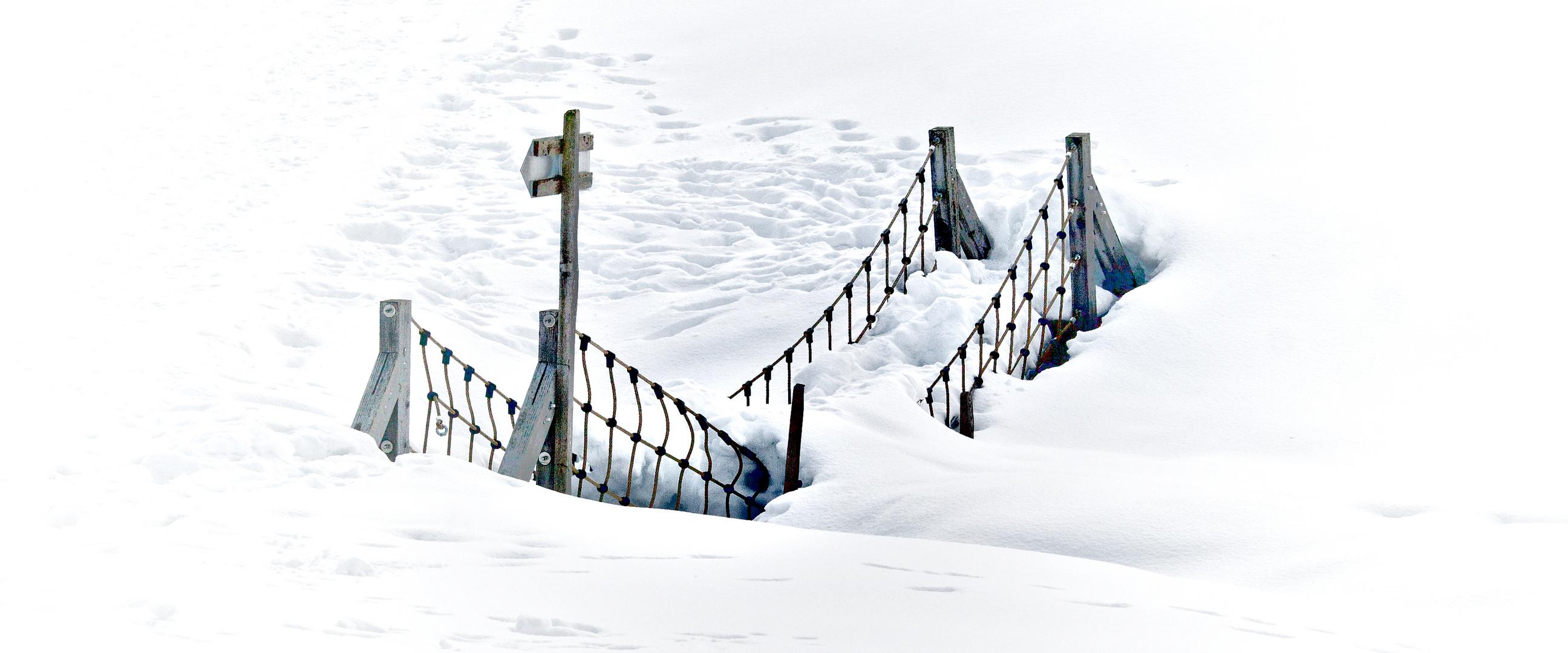 Bridge over frozen water..........