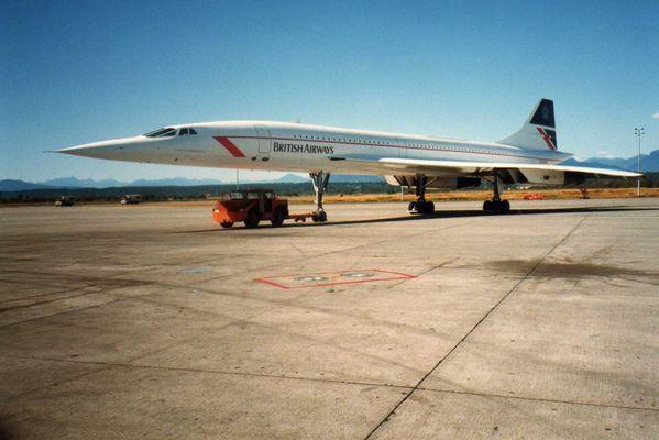 British Airways Concorde.Vancouver International Airport 1986.