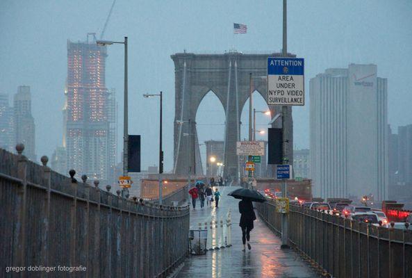 Brooklyn Bridge at rain