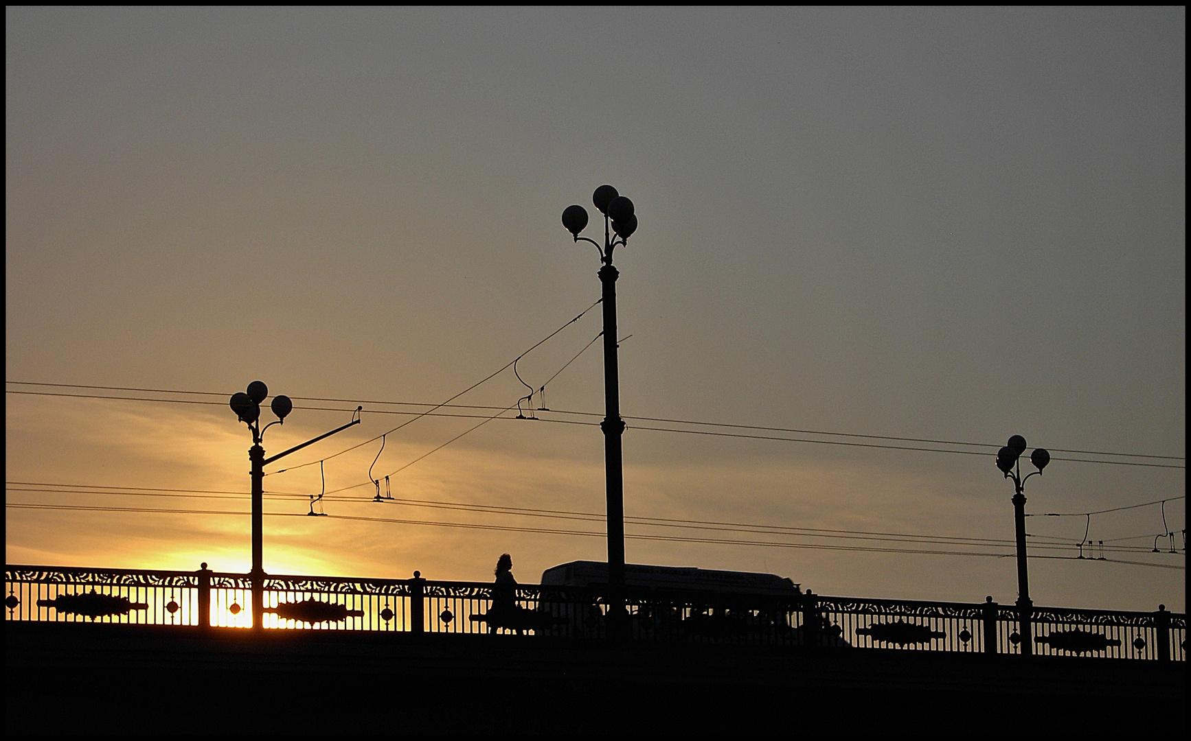 Brücke in Vilnius bei Sonnenuntergang