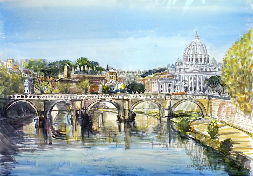Brücke  Sant Angelo und Petersdom Rom