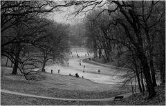Bruegelsches Vergnügen (Winterlandschaft mit Eisläufern)