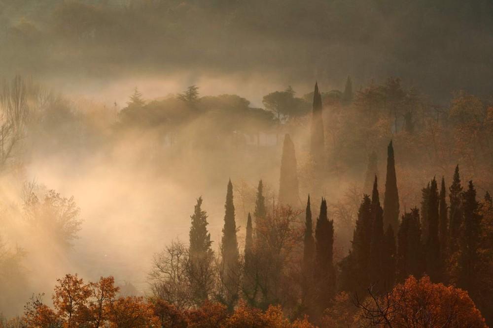 brume dans la Val d'Orcia en Toscane