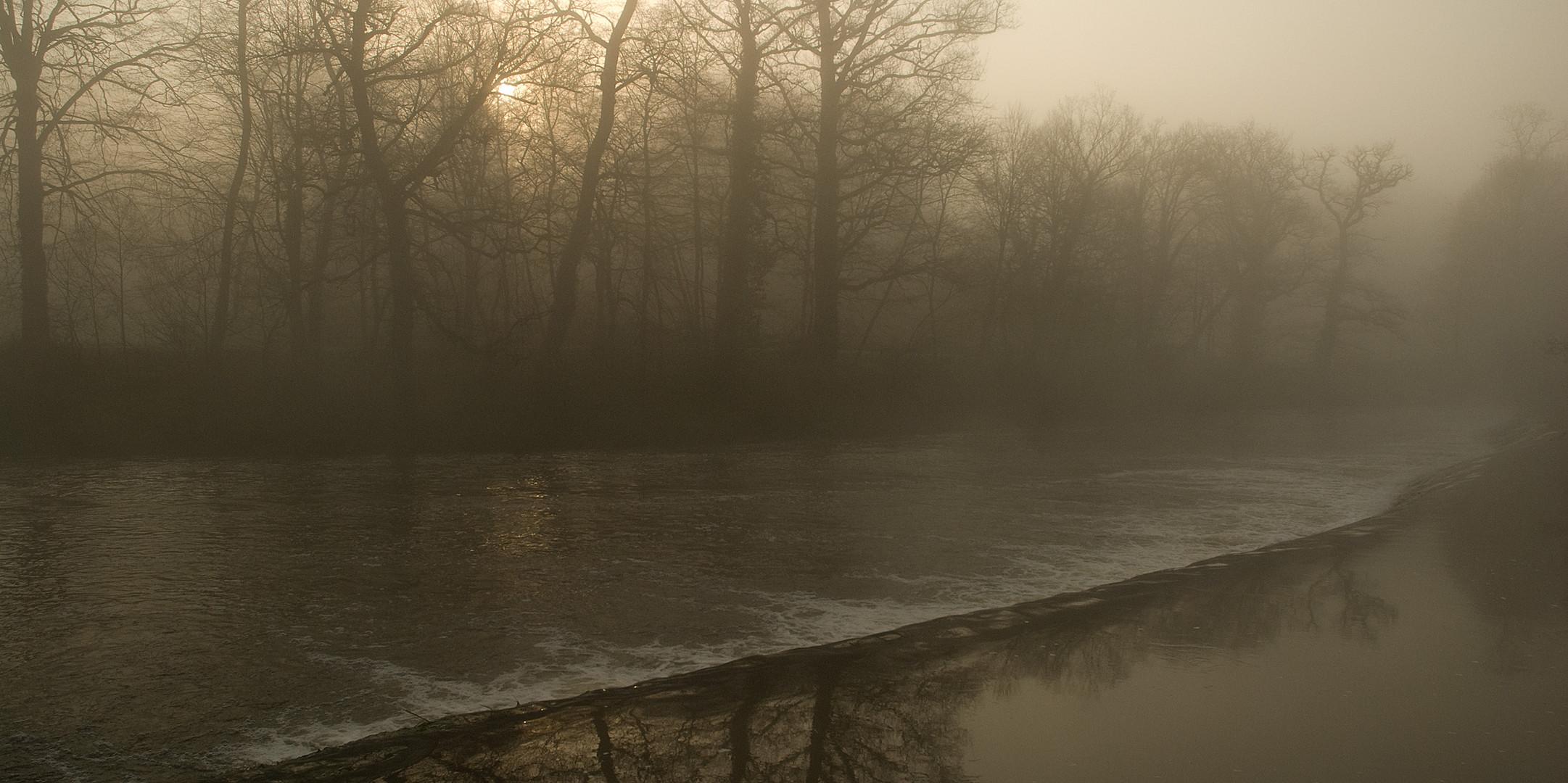 brume matinale sur le barrage (Limousin)