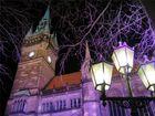 Brunschweiger Rathaus im Scheinwerferlicht der Eisbahn