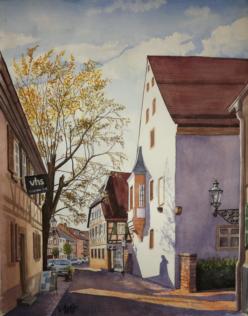 Buchen (Odenwald) Kellereistrasse mit Volkshochschule