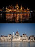Budapest Parlament Tag und Nacht