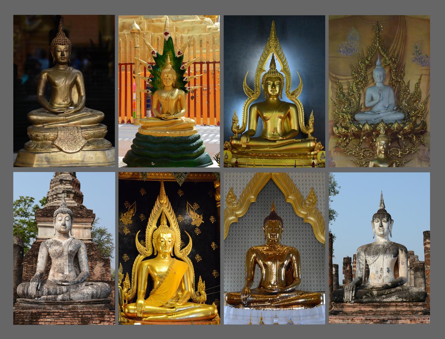 Buddha Statuen in Bangkok und Nord-Thailand