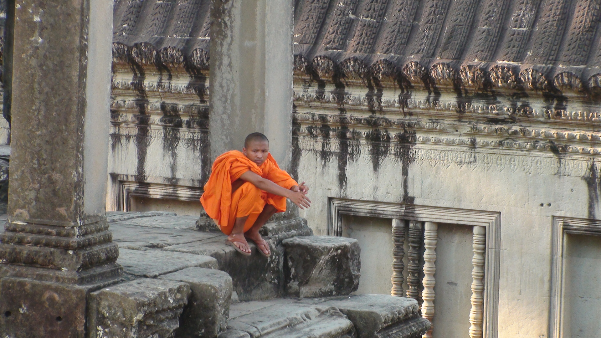 Buddhistischer Mönch in Angkor Wat, Cambodja