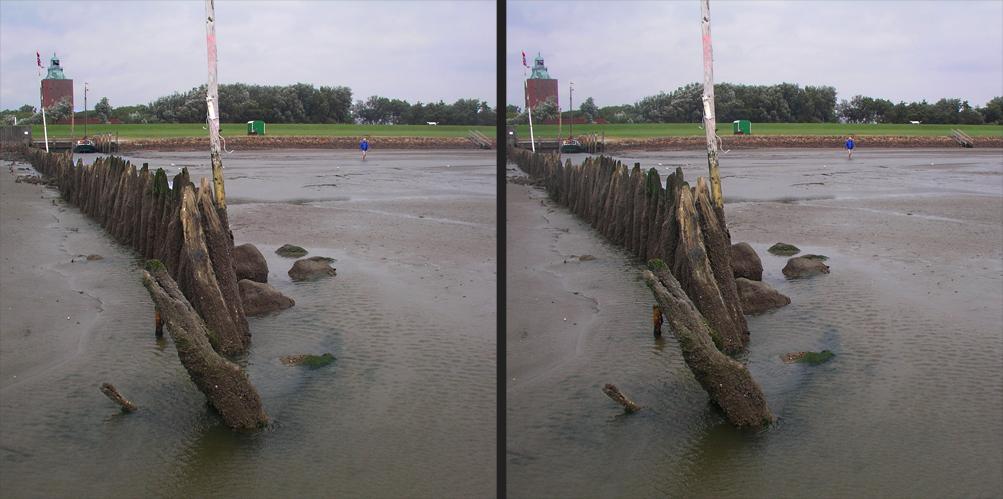 Buhne vor Nothafen Neuwerk bei Ebbe