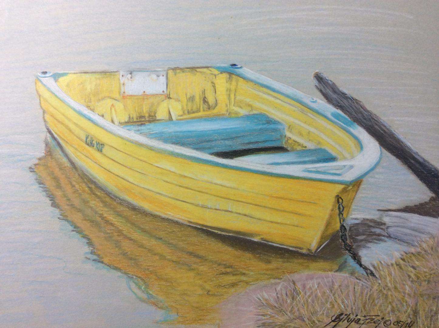 Buntstiftzeichnung Boot