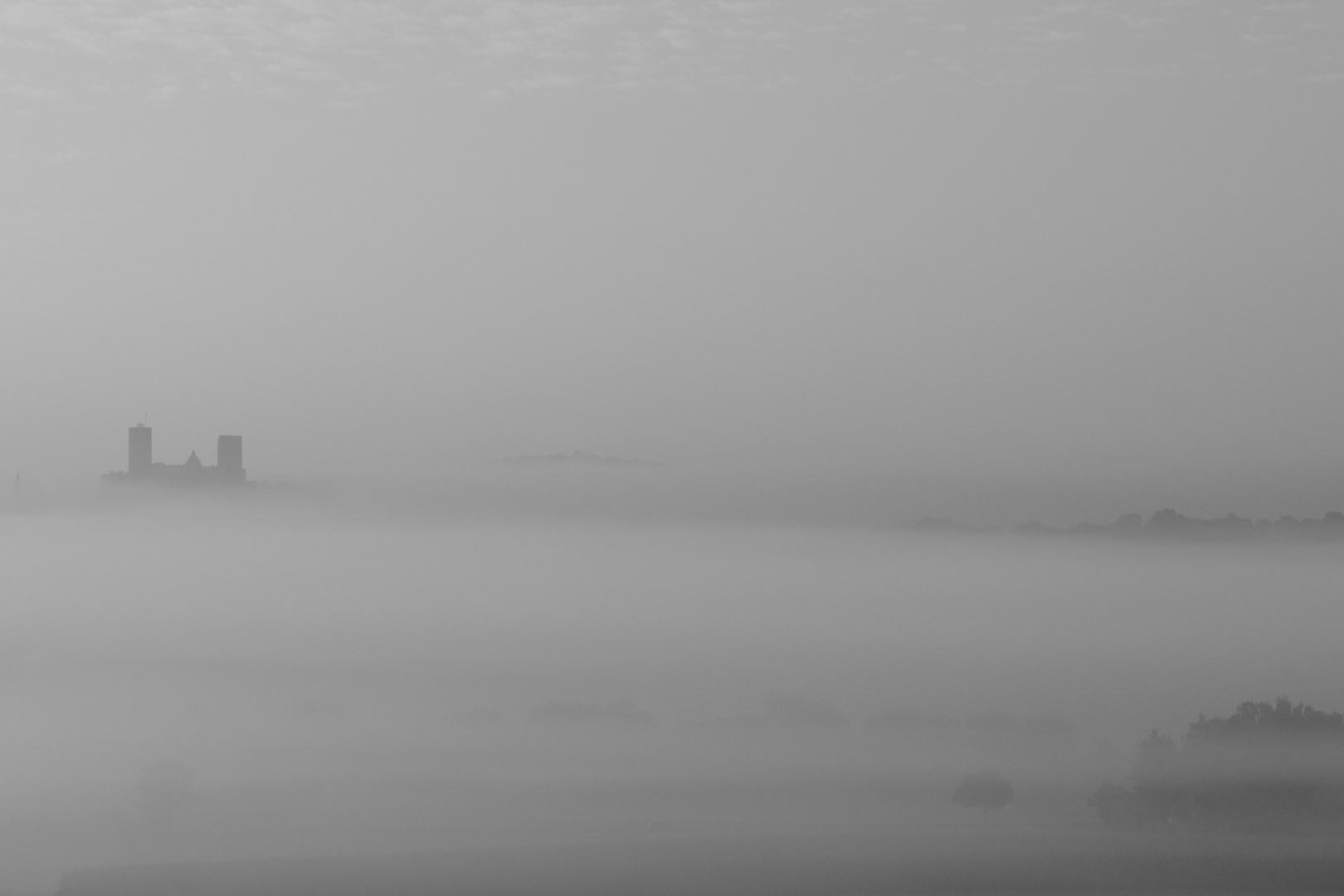 Burg Münzenberg im Nebel