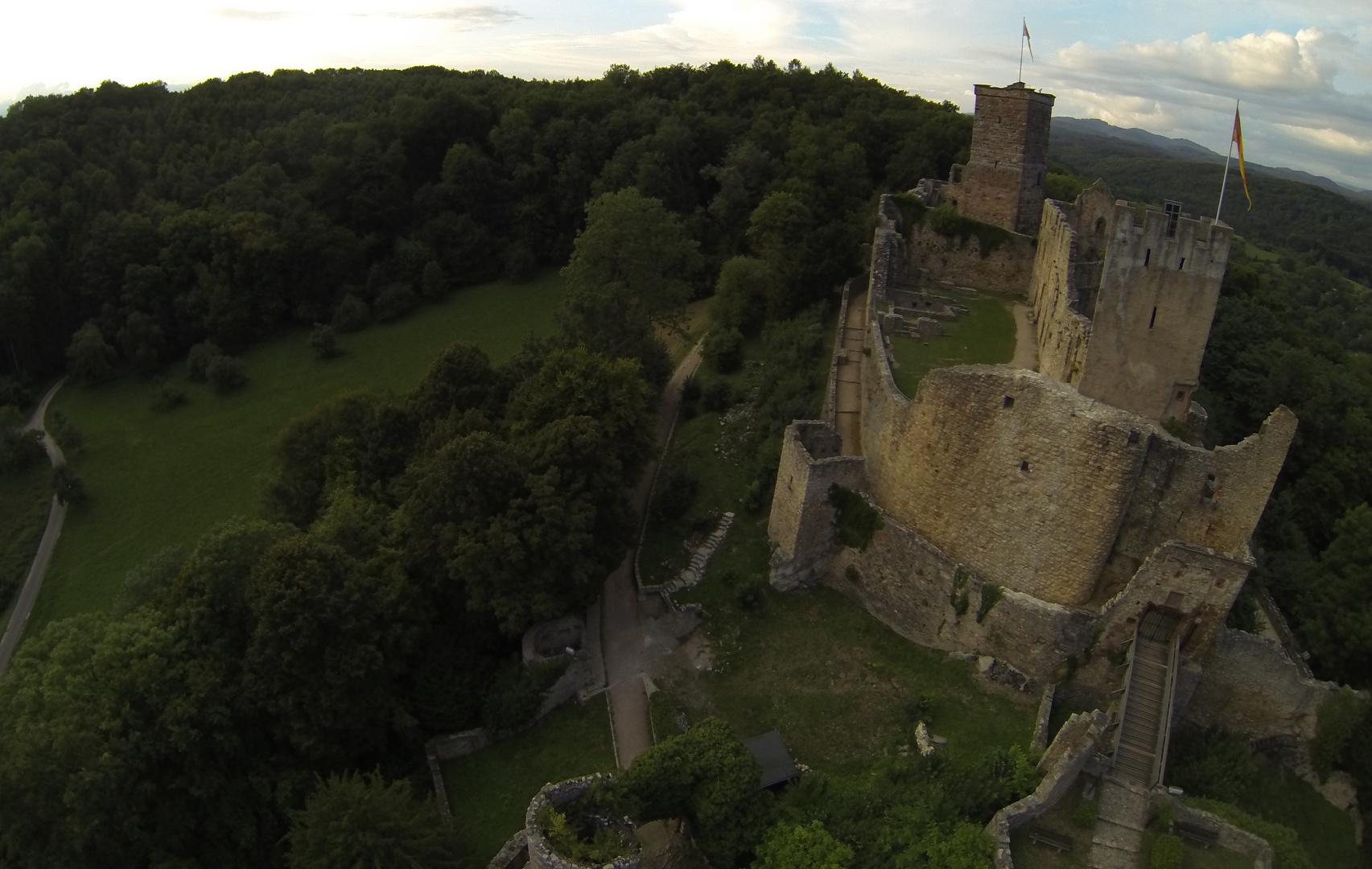 Burg Rötteln aus der Luft fotografiert