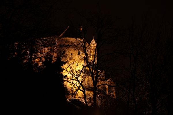Burg Stettenfels bei Nacht