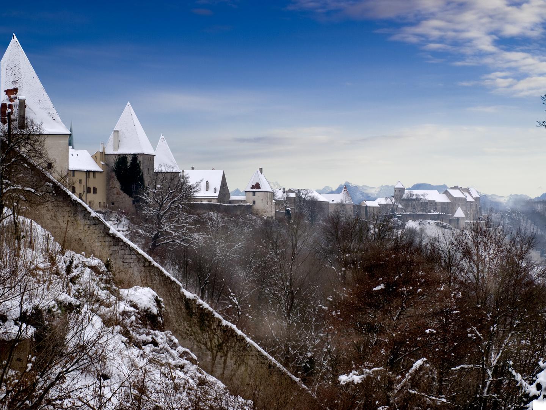 Burghauser Burg mit Bergpanorama