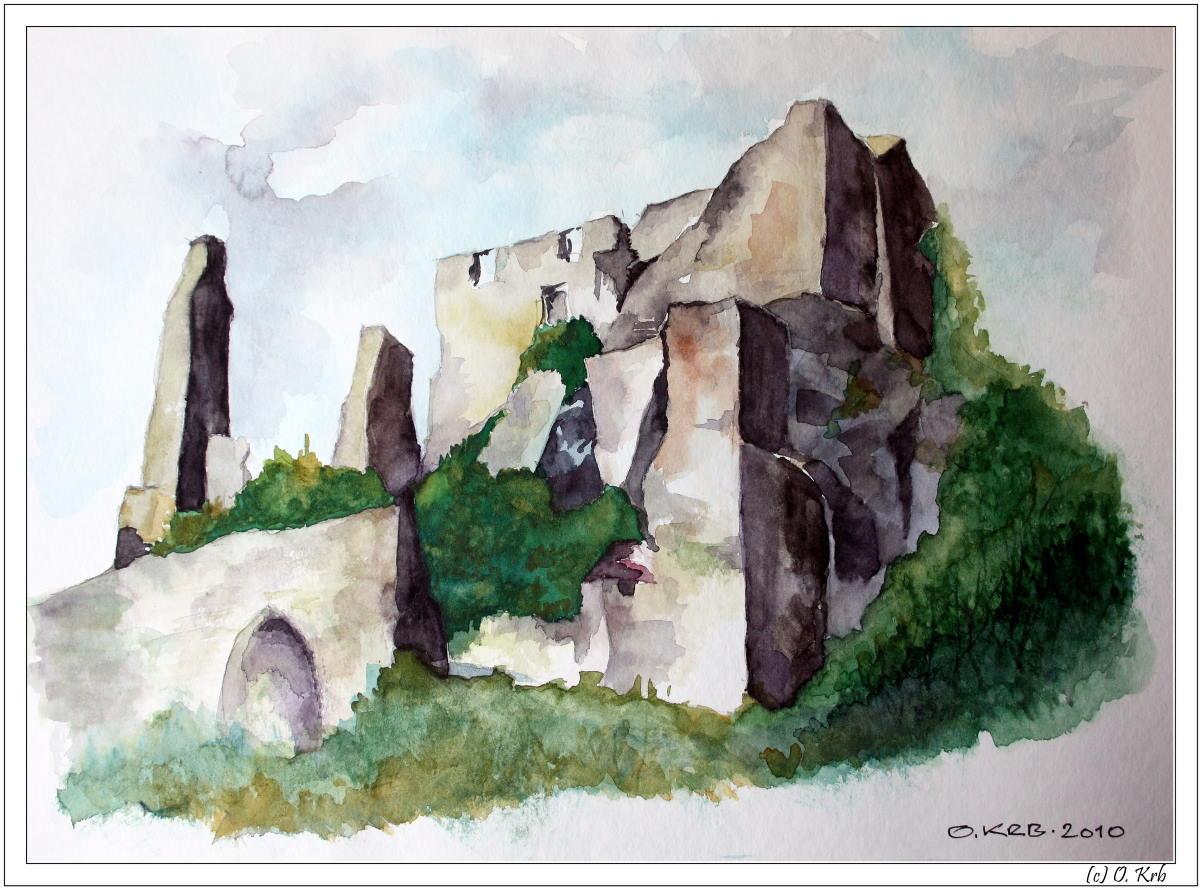 Burgruine Dürnstein - Aquarell (O. Krb)