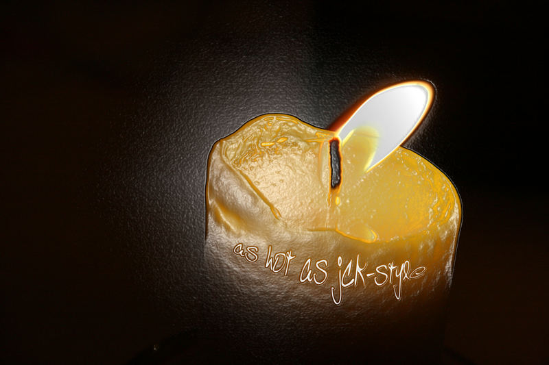burning candel in a plastic film