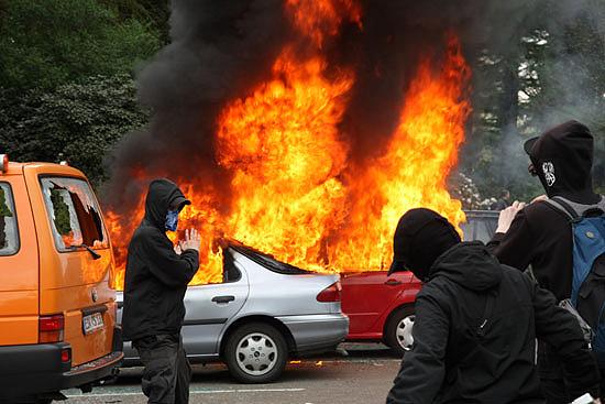 Burning Cars in Hamburg