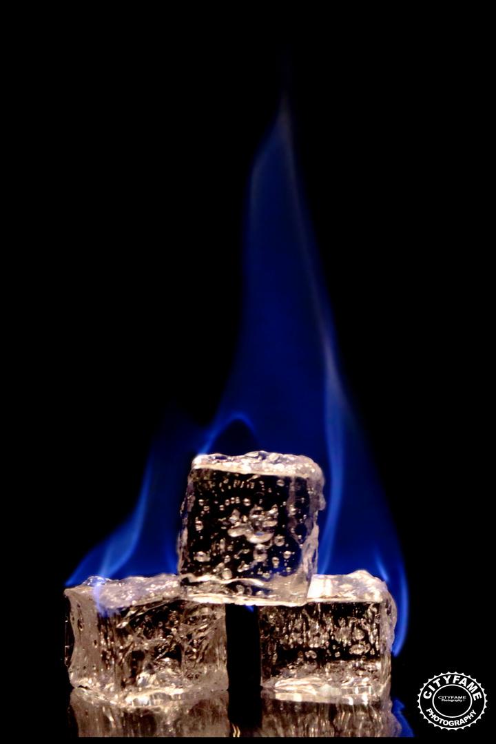 Burning ice-cubes