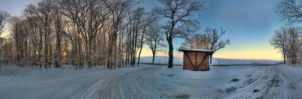 Bushäuschen im Schnee
