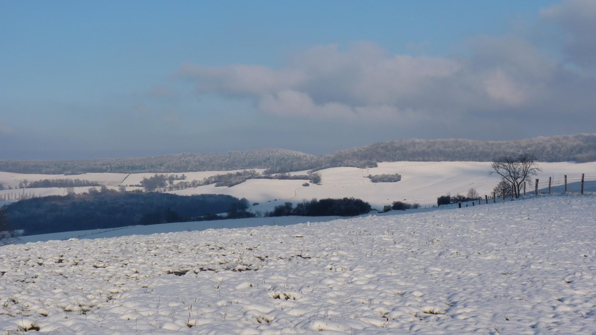 Campagne lorraine sous la neige