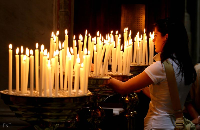 Candles at Santa Maria in Trastevere