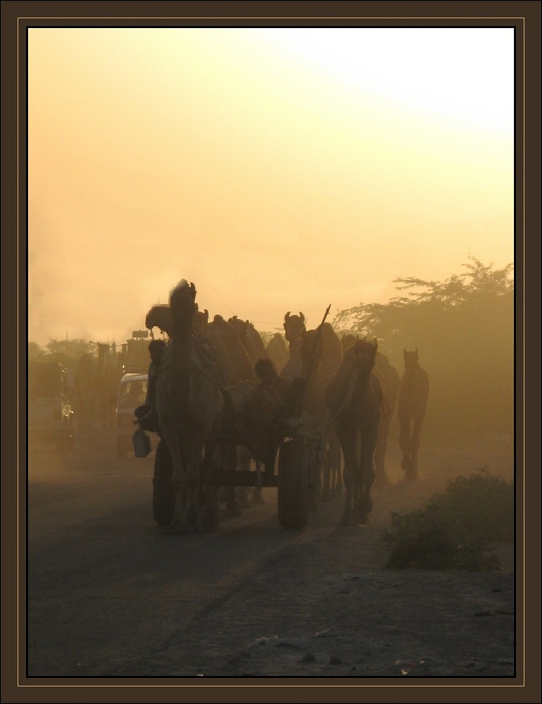caravane au soleil couchant