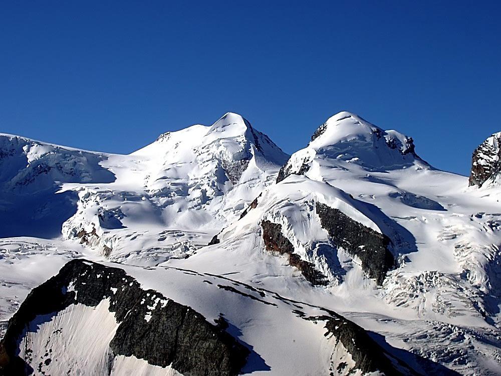 Castor 4228 m und Pollux 4092 m zwei phantastische Viertausender im Wallis