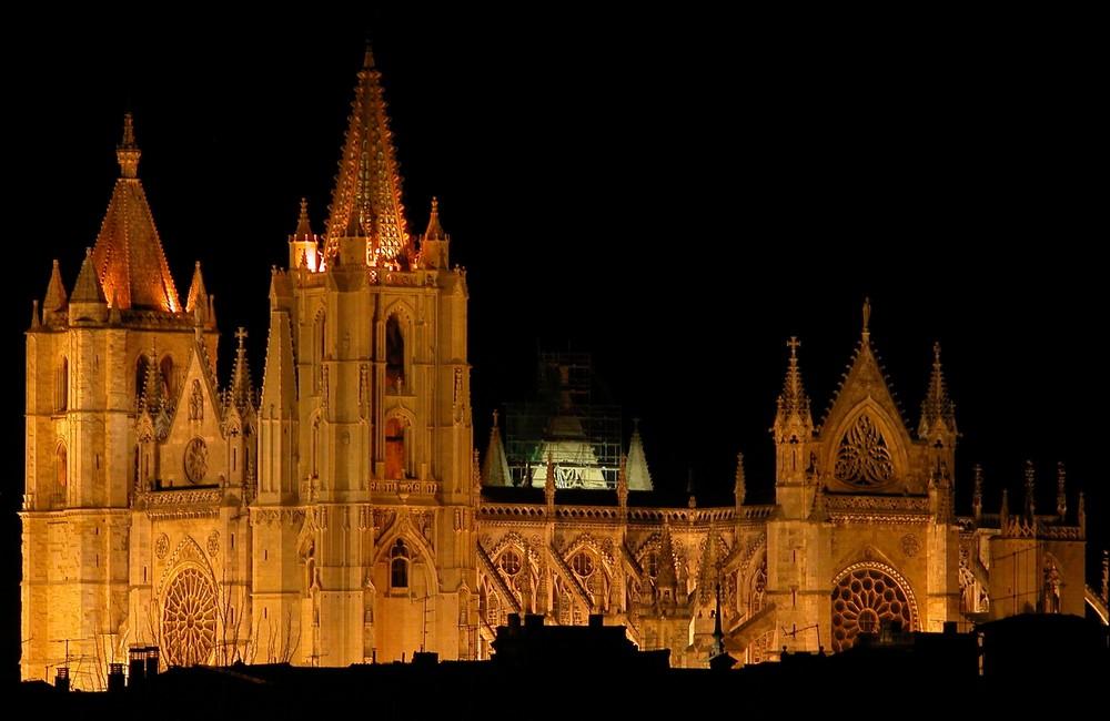 Catedral de León, nocturna