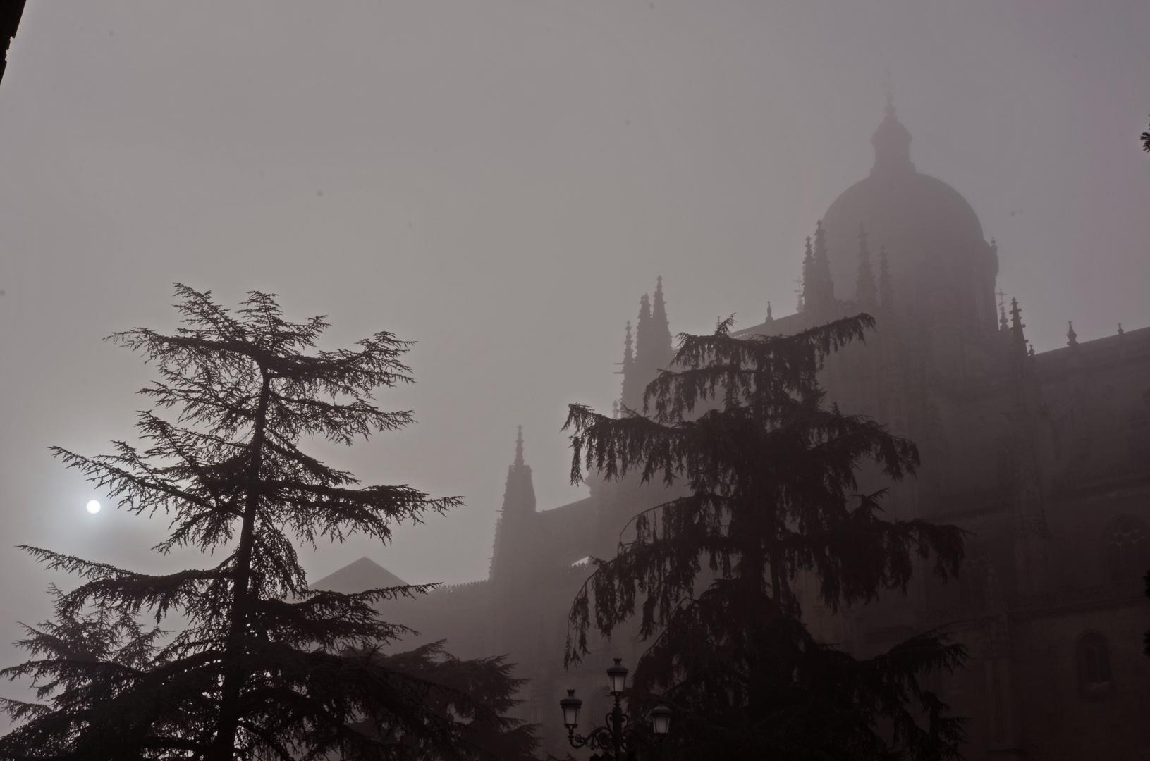 Catedral de Salamanca con niebla