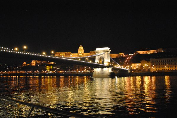 Chain Bridge with Royal Castle by Night