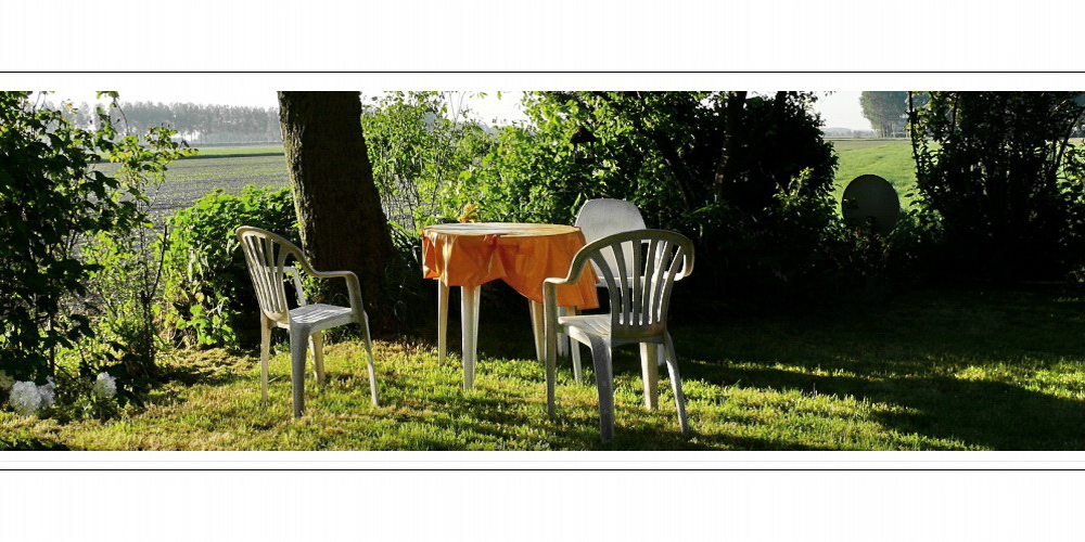 Chair family enjoys the rays of the warming sun...( as the table waits for breakfast)